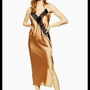 Topshop Gold Spaghetti Strap Slip Dress size 2